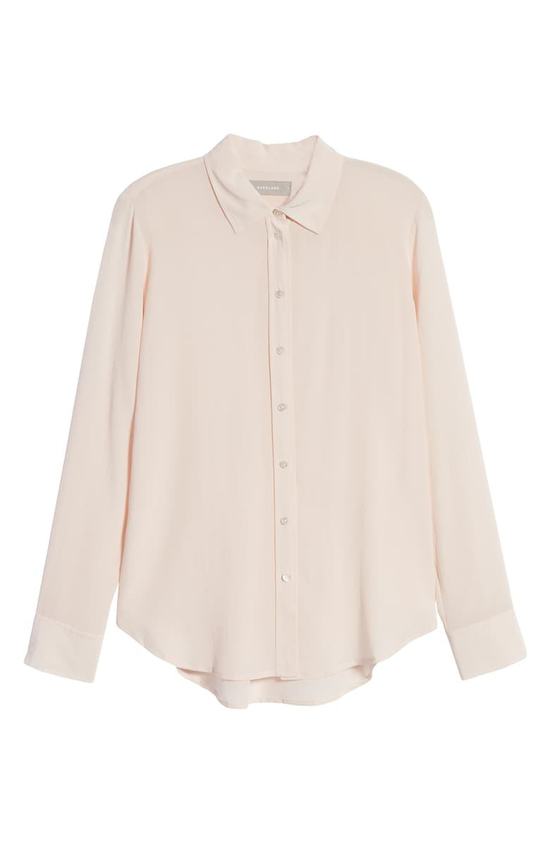 Everlane The Clean Silk Relaxed Shirt pink
