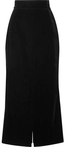 Velvet Midi Skirt - Black