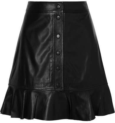 Ruffled Leather Mini Skirt - Black