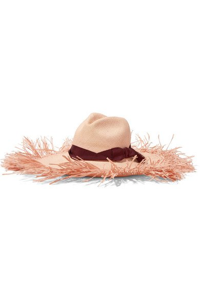 Sensi Studio   Frayed grosgrain-trimmed toquilla straw hat   NET-A-PORTER.COM
