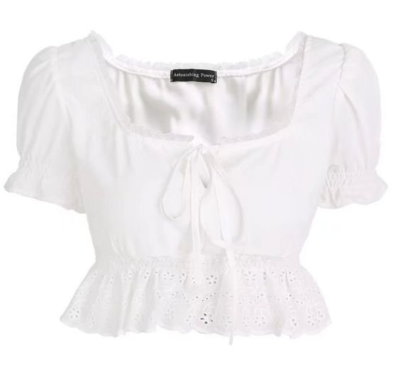 French Retro Lace Short Neck Top