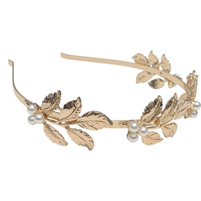 DRESHOW Leaf Headband Greek Goddess Headpiece Leaf Branch Dainty Bridal Hair Crown Head Dress Boho Alice Band