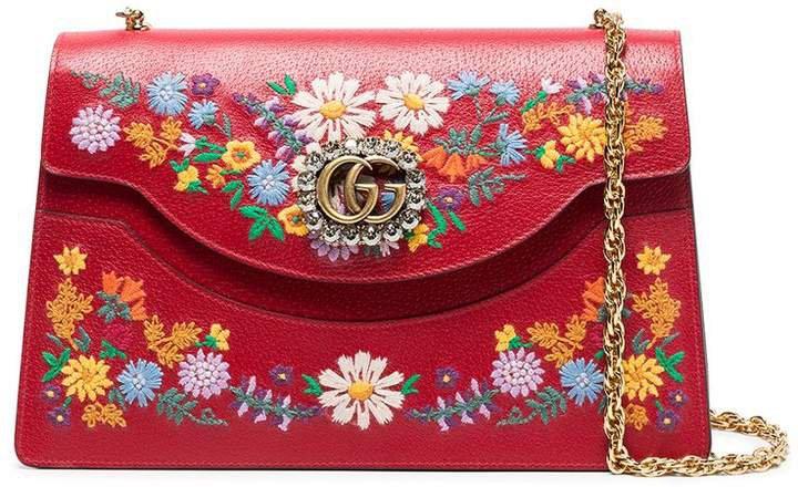 red large Ricami leather floral embroidered shoulder bag