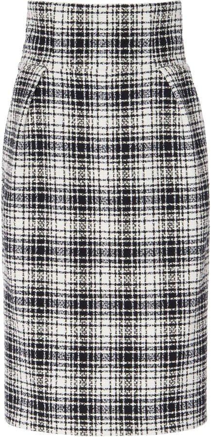 Alexandre Vauthier Plaid Cotton-Blend Pencil Skirt Size: 34