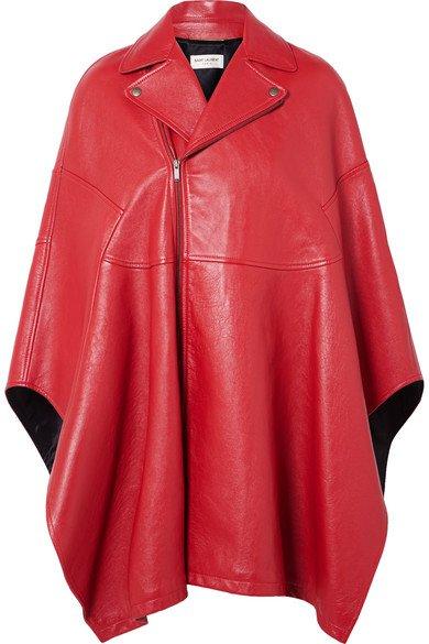 SAINT LAURENT | Asymmetric leather cape | NET-A-PORTER.COM