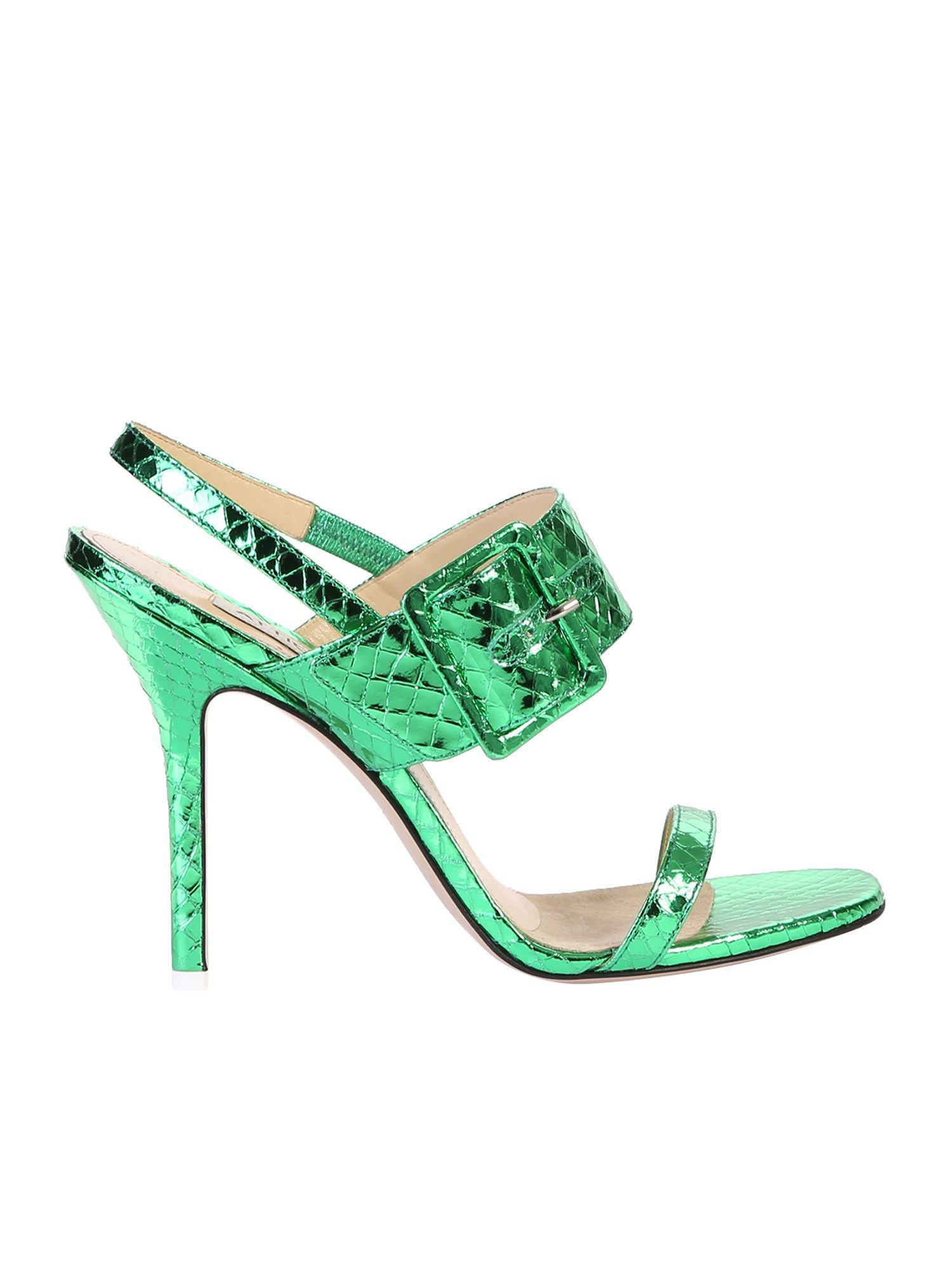 The Attico Snakeskin Print Sandals