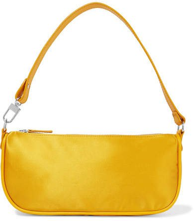 BY FAR - Rachel Leather-trimmed Silk Shoulder Bag - Yellow
