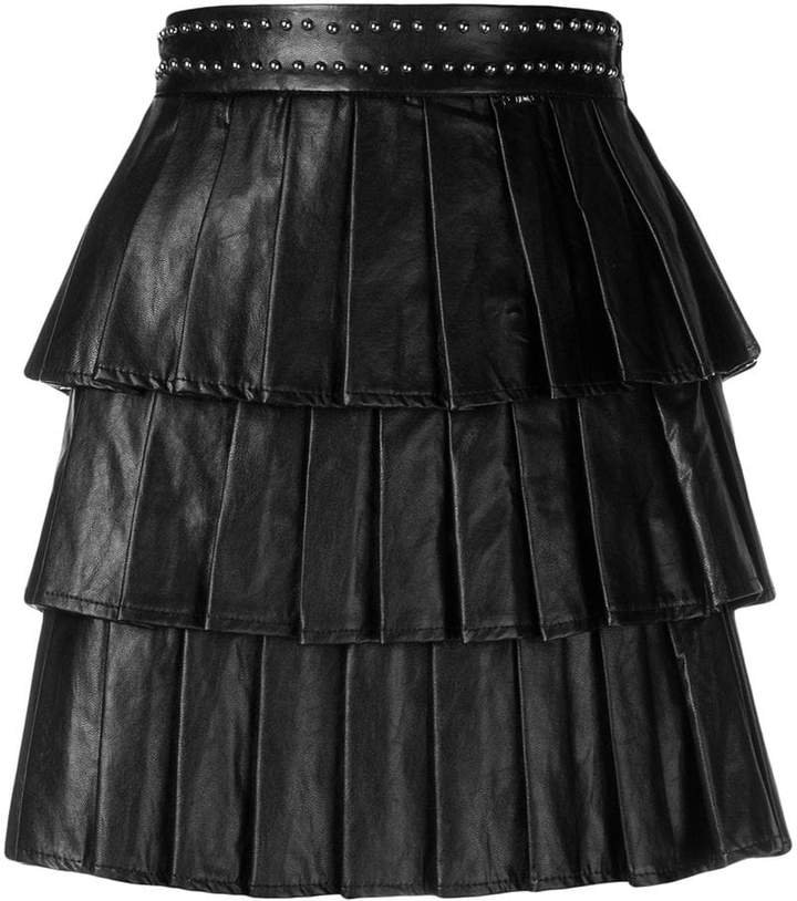 pleated layered skirt
