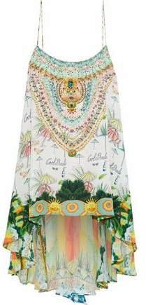 Crystal-embellished Printed Silk Top
