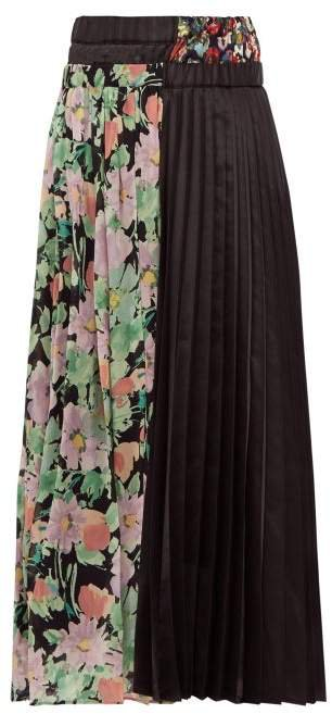 Floral Print Crepe And Satin Pleated Skirt - Womens - Black Multi