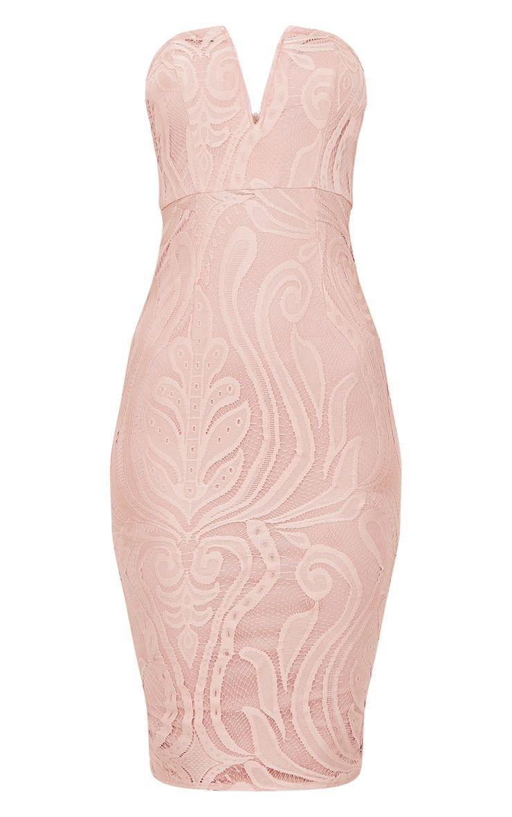 Dusty Pink Lace V Bar Bandeau Midi Dress | PrettyLittleThing USA