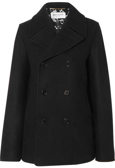 Double-breasted Wool Coat - Black