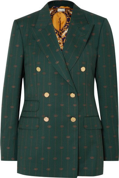 Gucci | Wool-jacquard double-breasted blazer | NET-A-PORTER.COM