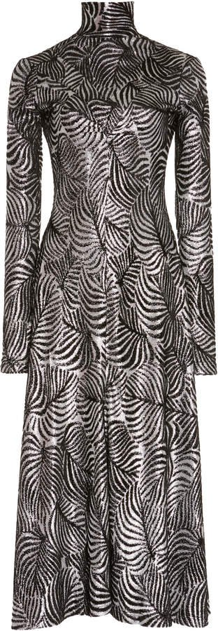 Long Sleeved Printed Midi Dress