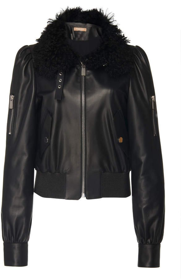 Shearling-Trimmed Leather Motorcycle Jacket