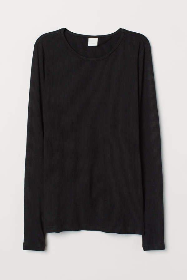 Long-sleeved Jersey Top - Black