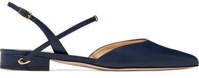 Jennifer Chamandi - Vittorio Leather Slingback Point-toe Flats - Navy