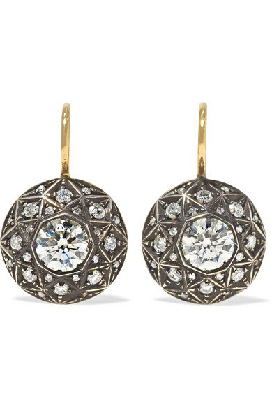 Fred Leighton | Collection 18-karat gold and sterling silver diamond earrings | NET-A-PORTER.COM
