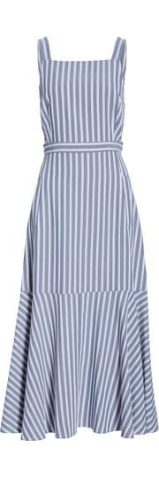 Tibi Stripe Twill Midi Dress | Nordstrom