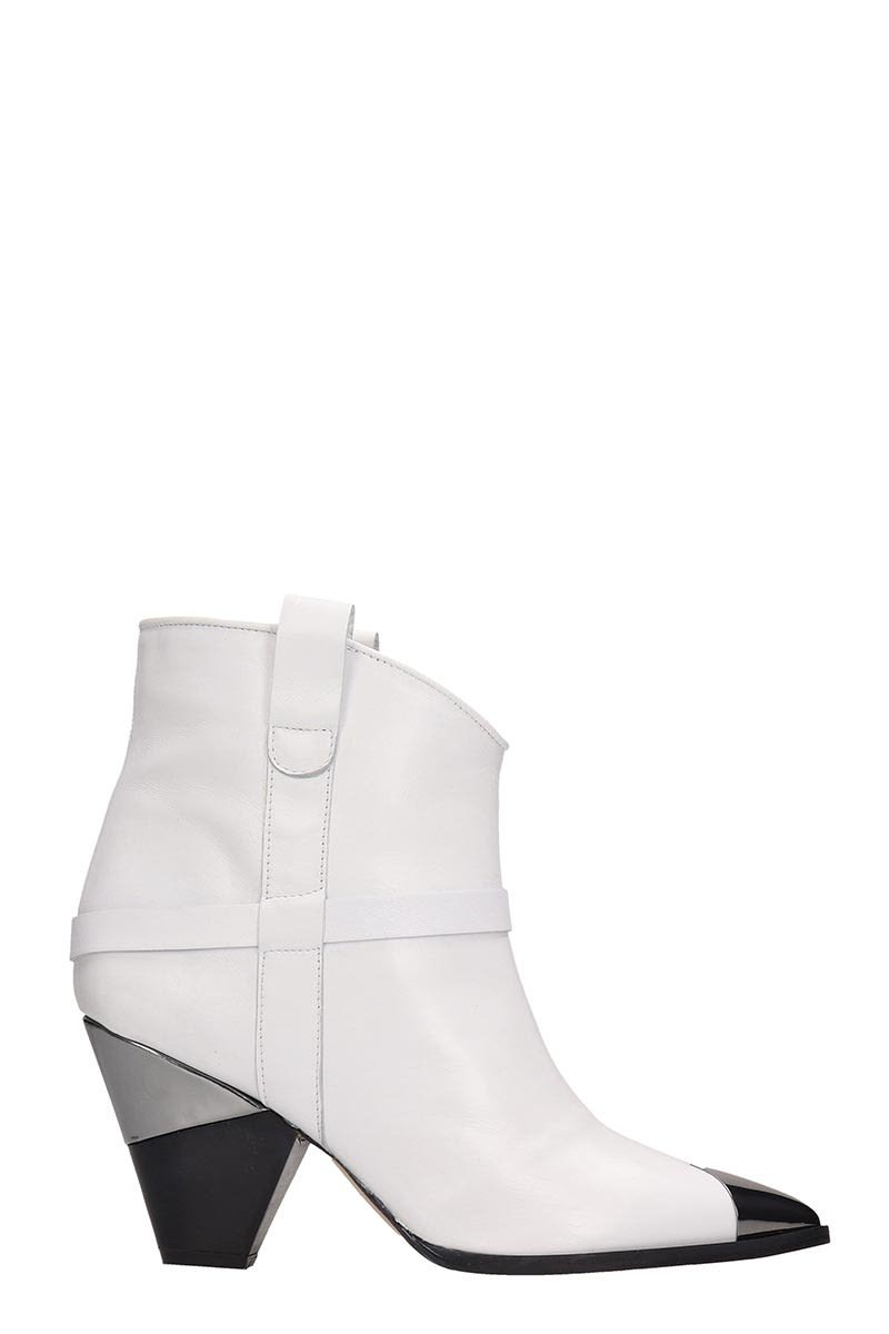 Alchimia White Leather Ankle Boots