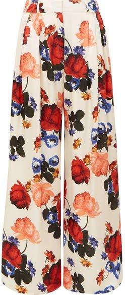 Anita Floral-print Silk-satin Wide-leg Pants - Ivory