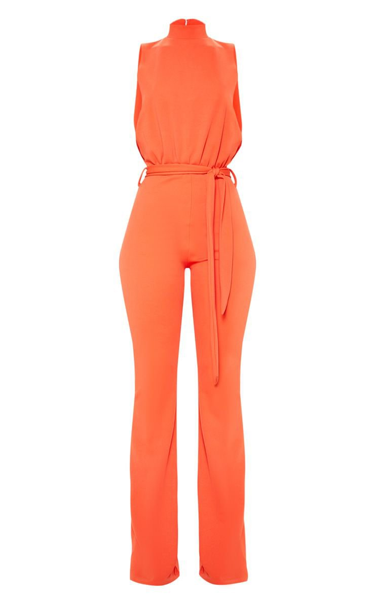 Bright Orange Scuba High Neck Tie Waist Jumpsuit | PrettyLittleThing USA