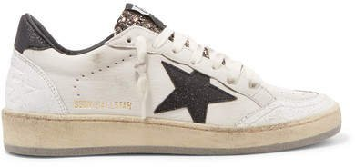 Ball Star Glittered Distressed Leather Sneakers - White