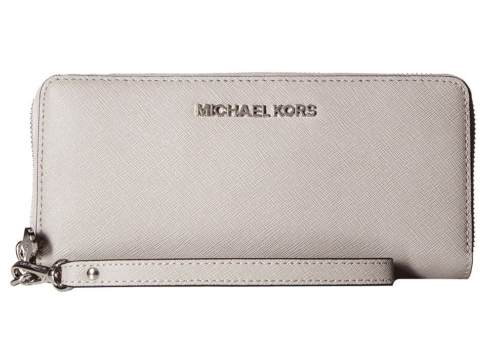 MICHAEL Michael Kors - Jet Set Travel Travel Continental (Pearl Grey) Clutch Handbags