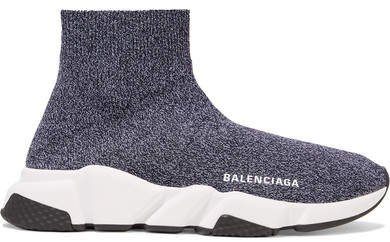 Speed Stretch-knit High-top Sneakers - Gray