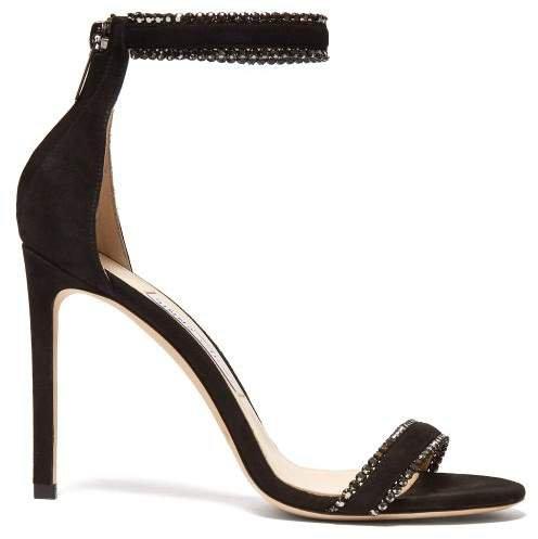 Dochas 100 Crystal Embellished Suede Sandals - Womens - Black