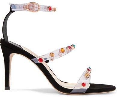 Rosalind Crystal-embellished Vinyl And Suede Sandals - Black