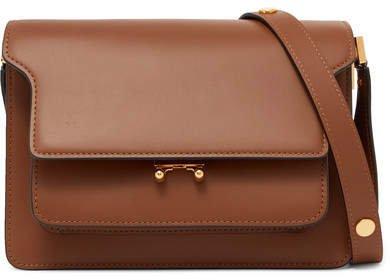 Trunk Leather Shoulder Bag - Brown