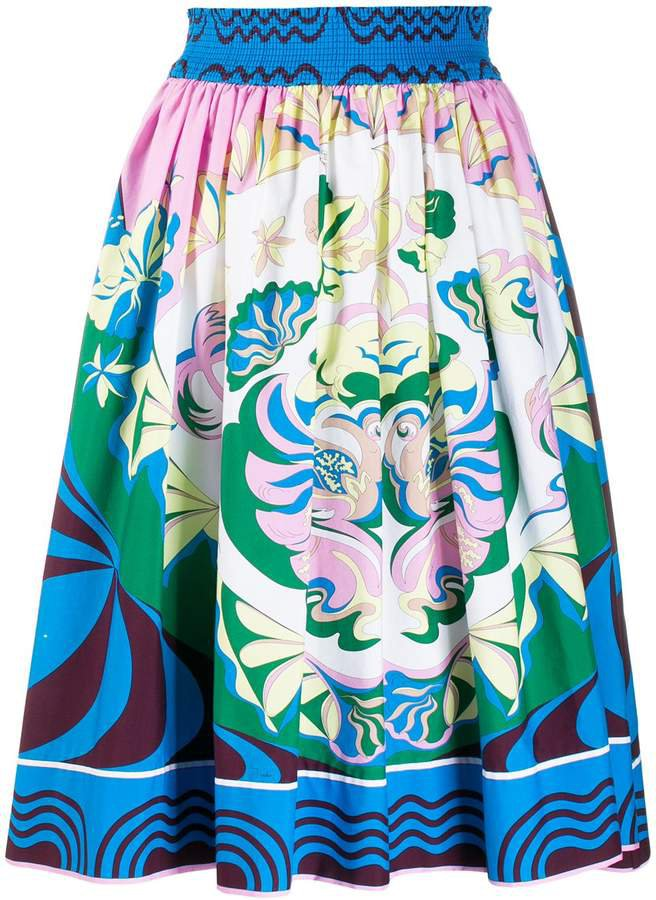 printed elasticated waist skirt