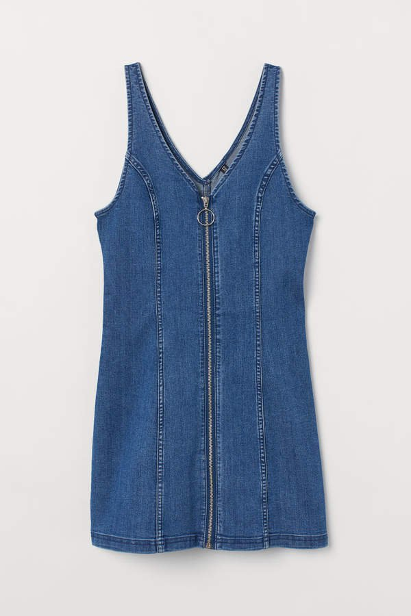 Short Denim Dress - Blue