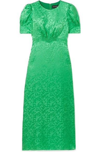 Saloni   Bianca silk-satin jacquard midi dress   NET-A-PORTER.COM