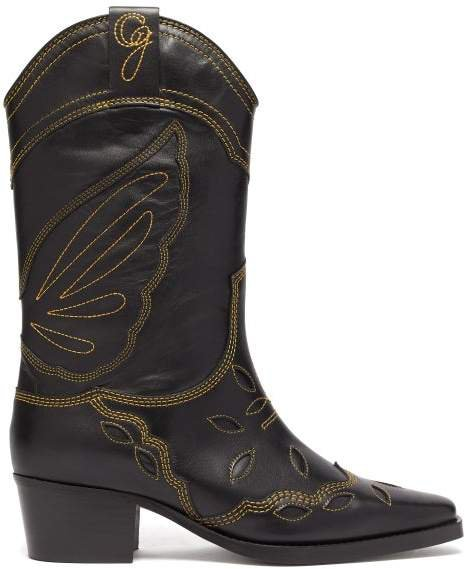 High Texas Leather Cowboy Boots - Womens - Black