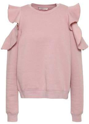 Keepsake Cold-shoulder Ruffled Cotton-blend Fleece Sweatshirt