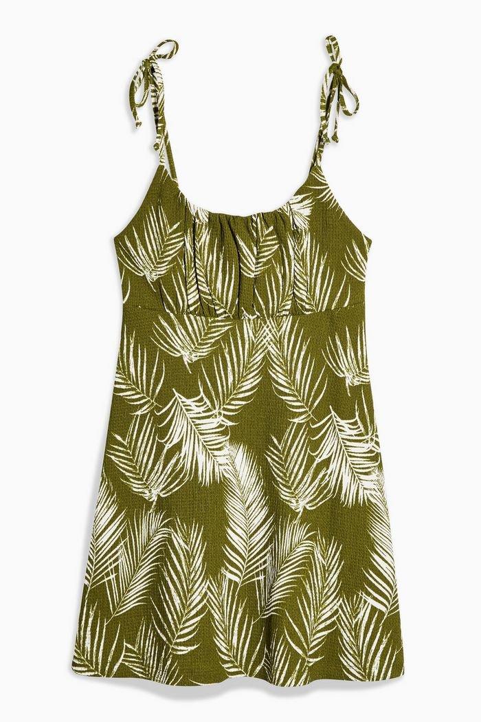 Palm Crinkle Mini Dress   Topshop green