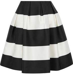 Flared Pleated Striped Satin Skirt