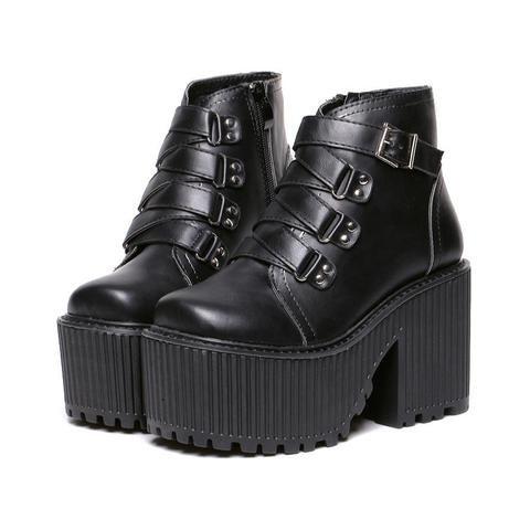 Grunge Buckle Ankle Platform Boots