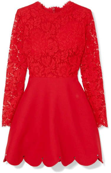 Guipure Lace And Crepe Mini Dress - Red