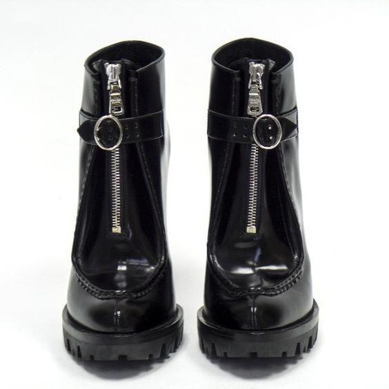 Prada Black Leather Platform Booties