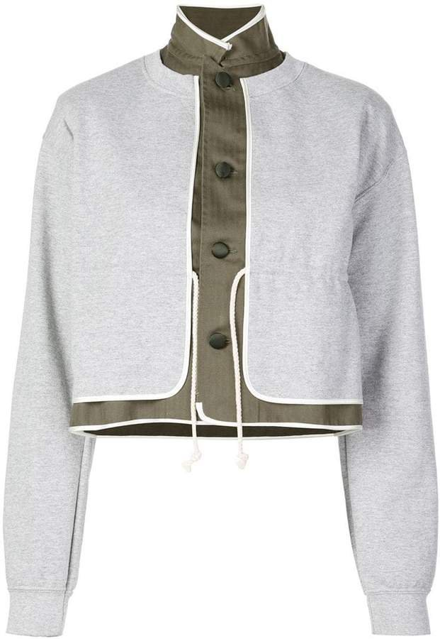 contrast layer effect button-up sweatshirt