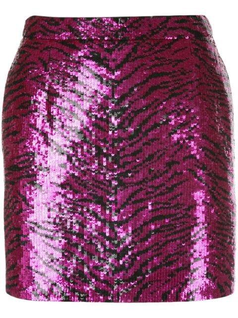 Saint Laurent Sequinned Zebra Pattern Mini Skirt | Farfetch.com