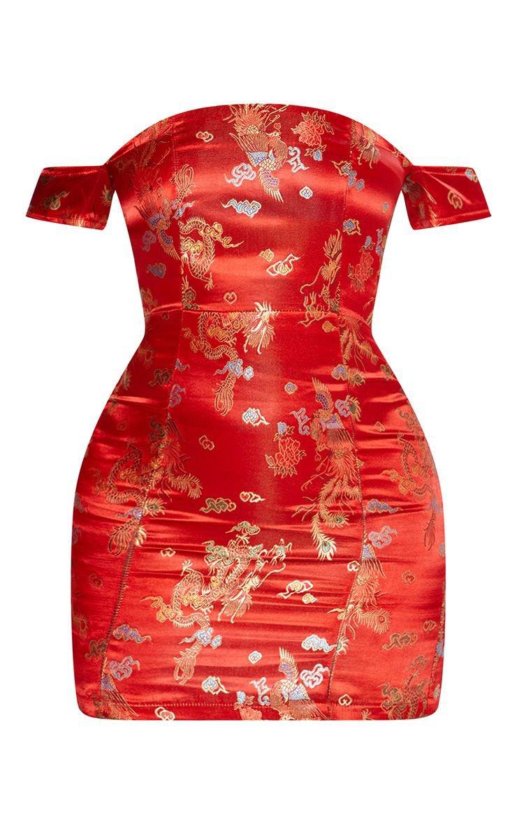 Red Oriental Jacquard Bardot Bodycon Dress | PrettyLittleThing USA