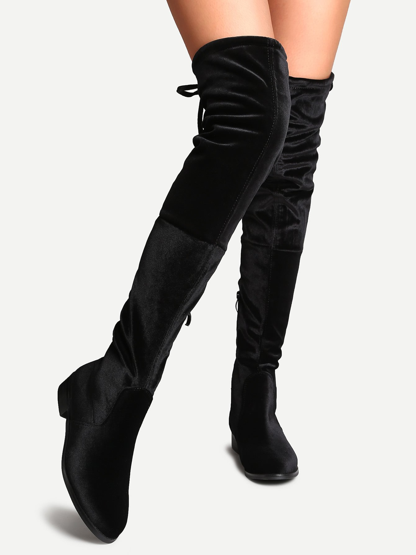 ce94da0eb4 romwe Black Faux Suede Side Zipper Tie Back Over The Knee Boots ...