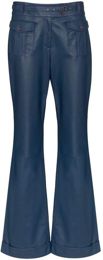 Nola belted flare trousers
