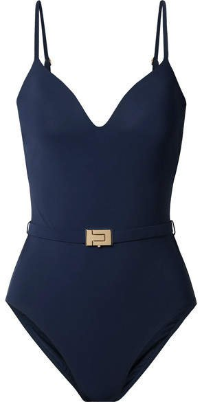 Belted Swimsuit - Navy