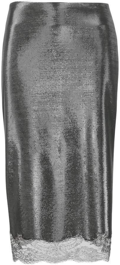 metallic midi pencil skirt