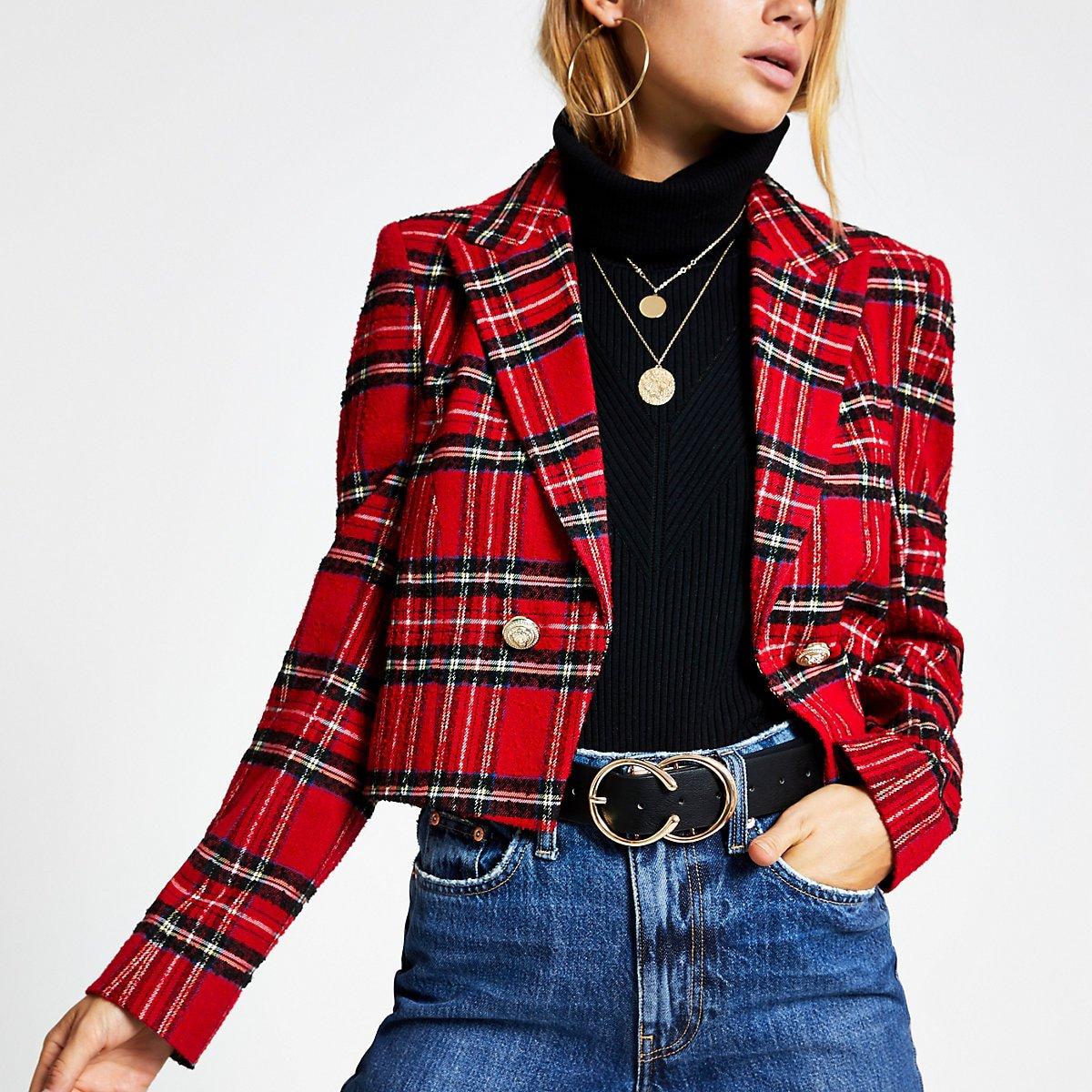 Red tartan cropped jacket - Jackets - Coats & Jackets - women